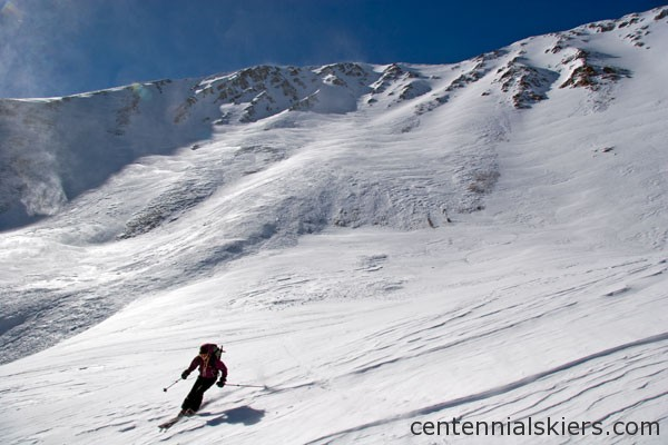 Some turns below the East Face. There are lots of ski options on Cronin.