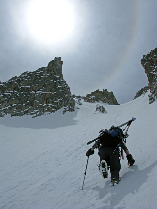 Christy booting the North Couloir between Hagerman and Snowmass Peak.