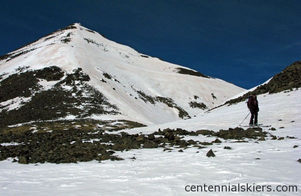 We skied the east-facing ridge coming down from the summit.