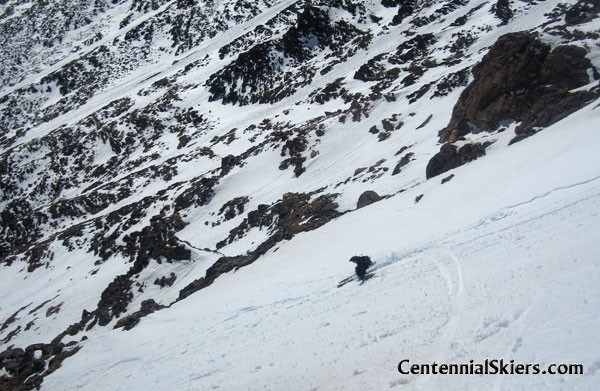 Christy and I hit a more east facing couloir.