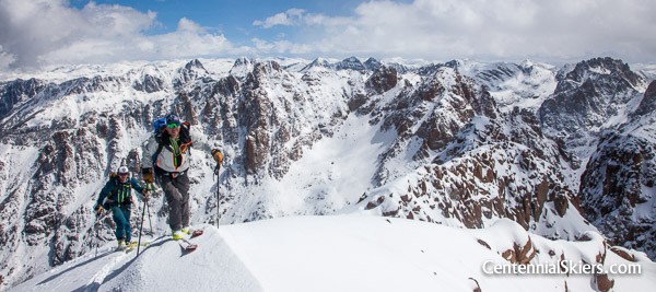 Chris davenport and Ian Fohrman on Turret Peak, 13,835 ft.