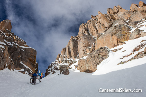 the top of the Jagged Couloir, the highest ski line on Jagged Mountain