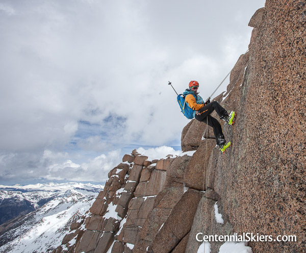 pete gaston rappels on Jagged Mountain