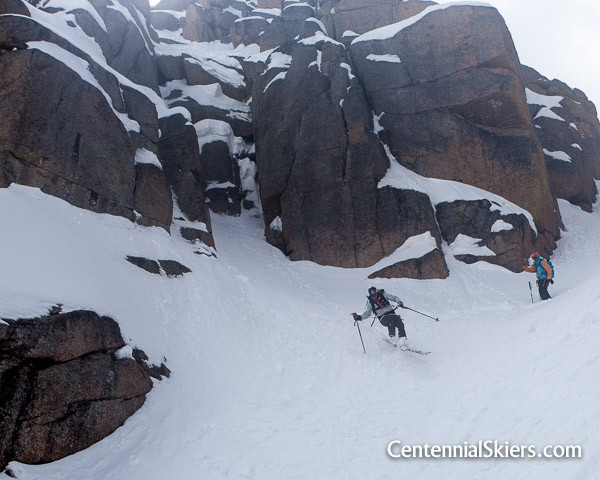 Chris Davenport skis the Jagged Couloir
