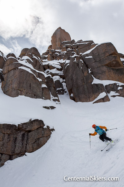 Pete Gaston skis the Jagged Couloir on Jagged Mountain